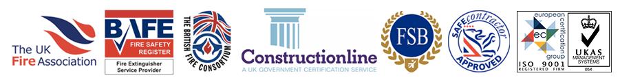 Fireline Accreditations - BAFE, Constructionline, Safecontractor, FSB, BFC, UKAS & UK Fire Association