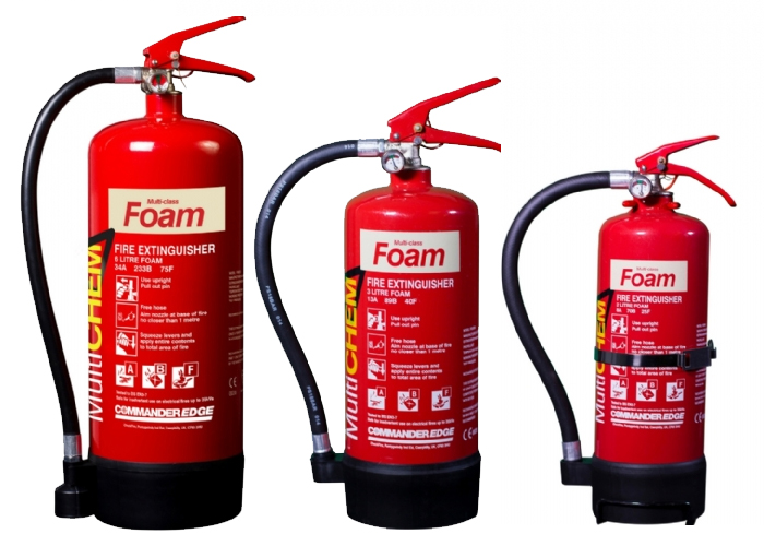 Picture showing 3 foam fire extinguishers