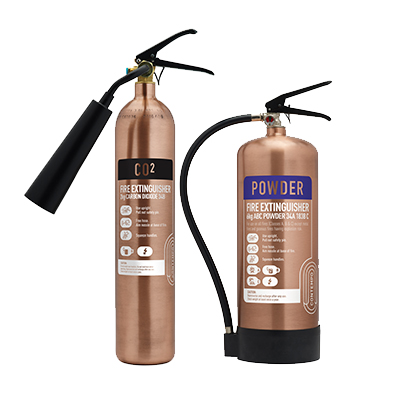 Contempo CO2 & Powder Fire Extinguishers in Brushed Antique Copper