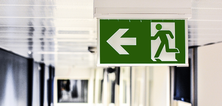 Photograph of an emergency exit sign