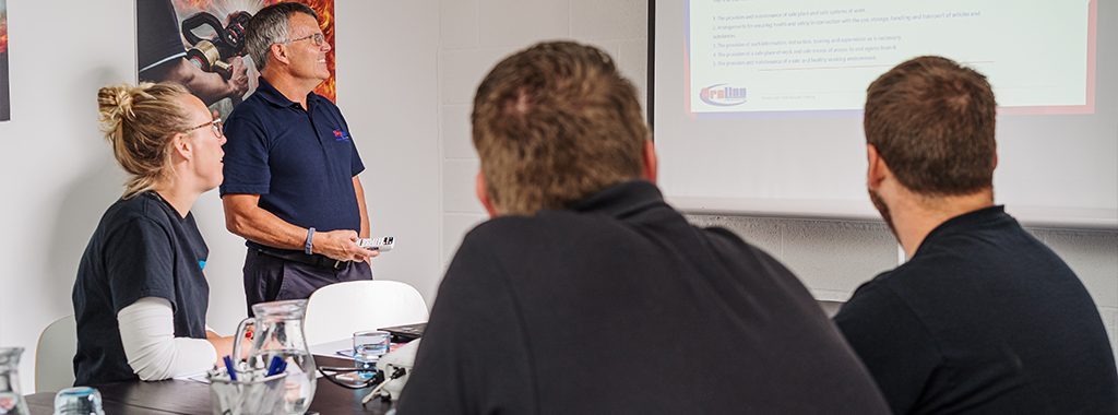 Meryvn presenting a training session at Fireline UK